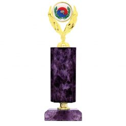 Martial Arts Holder Figure Gold Timber Award Purple Marble