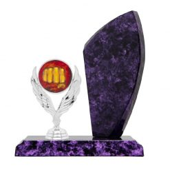 Martial Arts Holder Figure Silver Timber Award Purple Marble