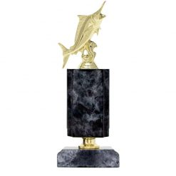 Fishing Marlin Gold Figure Timber Award Black Marble