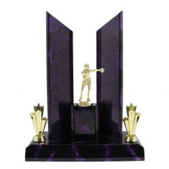 Boxing Gold Male Figure Perpetual Award Purple Marble