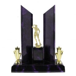 Bodybuilding Female Gold Figure Perpetual Award Purple Marble